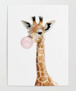 WallArt Posters Bubble Gum Baby Giraffe Poster