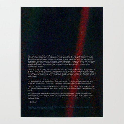 WallArt Posters Pale Blue Dot - Voyager 1 & Carl Sagan quote Poster