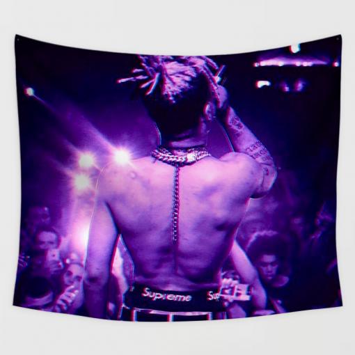 """WallArt Tapestries 51"""" X 60"""" Purple back view XXXTentacion Wall Tapestry"""