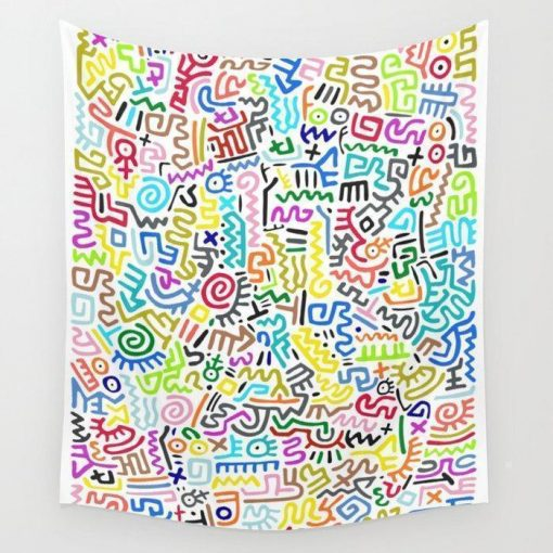 WallArt Tapestries Doodle Pattern II Keith Haring Wall Tapestry