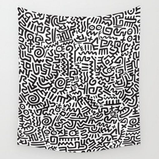 WallArt Tapestries Doodle Pattern Keith Haring Wall Tapestry