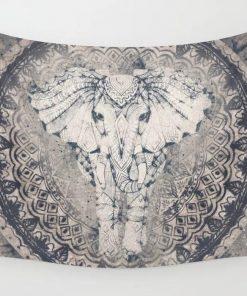 WallArt Tapestries Indian Elephant Mandala Wall Tapestry