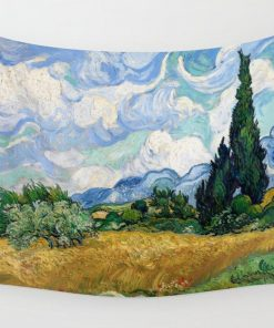 WallArt Tapestries Wheat Field with Cypresses by Vincent van Gogh Wall Tapestry