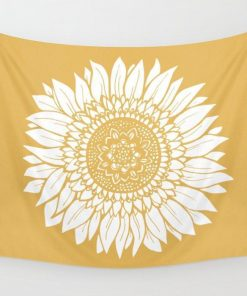 WallArt Tapestries Yellow Sunflower Drawing Wall Tapestry